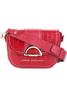 Bolsa Couro Jorge Bischoff Mini Bag Croco Feminina - Feminino-Vermelho