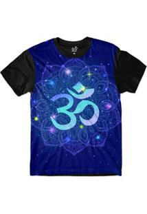 Camiseta Long Beach Ohm Mandala Florida Sublimada Masculina - Masculino-Azul+Preto
