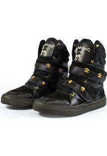 Tênis Sneaker Fitness Couro Cano Alto Preto