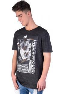 Camiseta Long Molinê Black Prédios + Foil Bronze