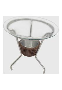 Mesa Em Fibra Sintética E Alumínio C/ Cooler Castor Estonado Pressa Móveis