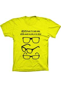 Camiseta Lu Geek Manga Curta Visão Da Vida Amarelo