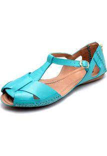 Sandalia Feminina Q&Ampa 780 Couro Azul Turquesa - Tricae