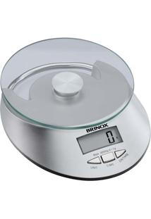 Balança Digital Para Cozinha, Capacidade 5 Kg, Com Relógio, Plataforma Em Vidro, Função Tara E Alça Para Pendurar, Incluso Bateria 16X20X4Cm - Brinox