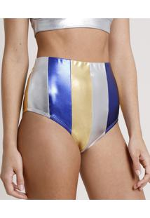 Hot Pant Feminino Carnaval Mindset Metalizado Listrado Com Recortes Multicor