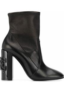 Casadei Ankle Boot Com Logo No Salto - Preto