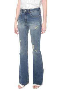 ... Calça Jeans Calvin Klein Jeans Flare Destroyed Azul 7d98b29234