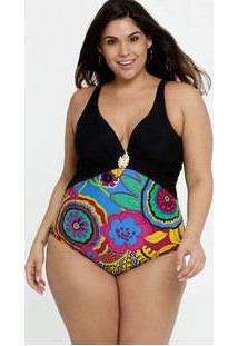 Maiô Feminino Estampado Plus Size Alças Finas Banho De Mar