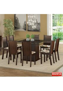 Mesa De Jantar 8 Lugares Camila Tabaco/Hibiscos - Madesa Móveis