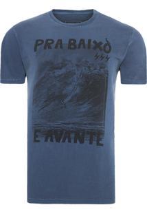 Camiseta Masculina Pra Baixo E Avante - Azul