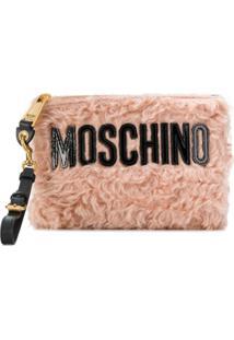 Moschino Bolsa Clutch De Couro - Rosa