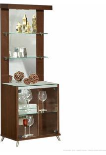 Cristaleira 2 Portas De Vidro Com Espelho, Led E Pés Palito Diamante 100% Mdf Nogueira - Móveis Forini