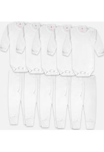 Kit 10 Body Bebê Zupt Baby Enxoval - Unissex-Branco