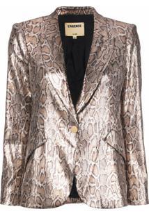 L'Agence Blazer Com Estampa De Leopardo E Paetês - Marrom