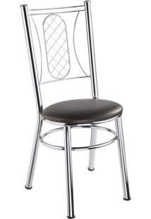 Cadeira Assento Estofado Móveis Brastubo Cromado/Tabaco