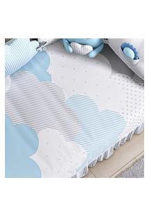 Edredom Bebê Nuvem De Algodáo Azul Estampado Gráo De Gente Azul