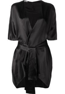 Fisico Open Silk Kimono - Preto