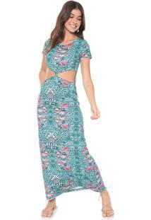 Vestido Redley Longo Nepal Azul/Rosa