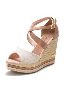 Sandália Sb Shoes Anabela Ref.3205 Juta/Ocre