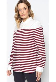 Camisa Listrada Com Bordado- Bordã´ & Branca- Lacostelacoste