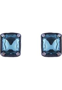 Brinco Armazem Rr Bijoux Cristal Quadrado Azul - Tricae