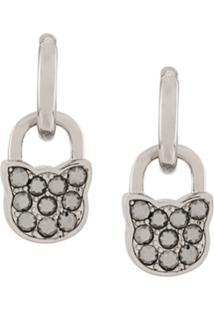 Karl Lagerfeld Lock Earrings - Prateado