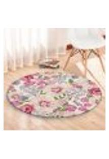 Tapete Redondo Wevans Flowers Pink 94Cm