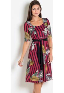 Vestido Estampado Com Faixa Moda Evangélica
