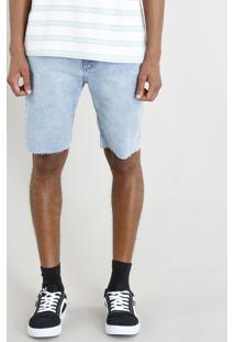 Bermuda Jeans Masculina Com Cadarço Azul Claro