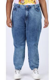 Calça Jeans Feminina Plus Size Mom Cintura Alta Marmorizada Azul Médio