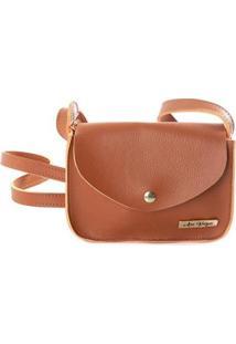 Bolsa Mini Bag Alça Transversal Pochete Lisa Ana Viegas Feminina - Feminino-Marrom