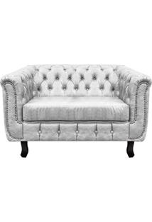 Sofá 2 Lugares Chesterfield Sintético Branco - D'Rossi