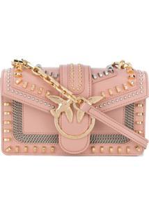 Pinko Mini Love Mix Stud Crossbody Bag - Rosa
