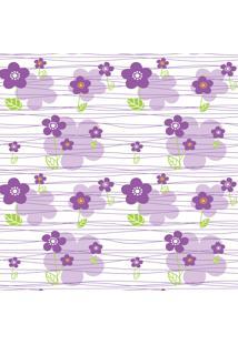 Papel De Parede Quartinhos Adesivo Texturizado Floral Lilás 2,70X0,57M