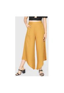 Calça Mercatto Pantacourt Bolsos Amarela