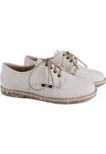 Sapato Oxford Feminino Vegano Estampado Liso Conforto Bege