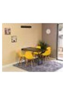 Conjunto De Mesa Dobrável Retrátil 120 X 75 Preta + 4 Cadeiras Eiffel - Amarela