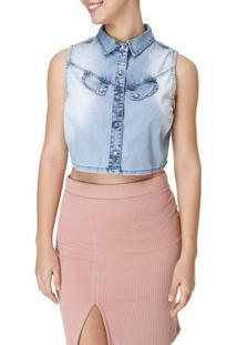 Camisa Regata Jeans Feminina Azul