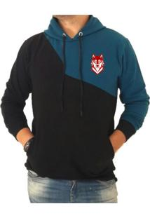 Blusa Moletom Algodao Triztam Onne Brand 3.1 Preto-Azul
