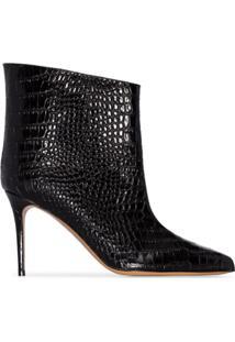Alexandre Vauthier Croc-Effect 90Mm Ankle Boots - Preto