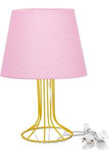 Abajur Torre Dome Rosa/Bolinha Com Aramado Amarelo - Rosa - Dafiti