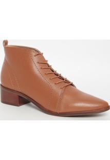 Ankle Boot Em Couro- Marrom Claro- Salto: 4Cmloucos E Santos