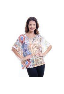 Blusa 101 Resort Wear Poncho Decote Cavado Em Malha Devore Estampado Dourado