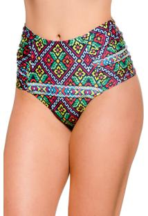 Calcinha Blue Horse Zelia Hot Pants Retro Franzido Lateral Lycra Estampado Bordado
