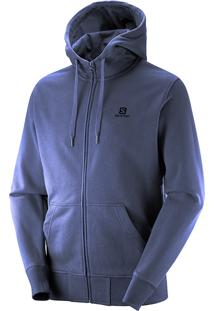 Blusa Masculina Salomon Logo Fz Hoodie Yonder Azul Tam. P