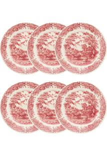 Conjunto 6 Pratos Rasos Biona Donna Tampografia Cerâmica Vermelho