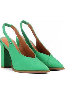 Scarpin Couro Colcci Salto Grosso Decote V Feminino - Feminino-Verde