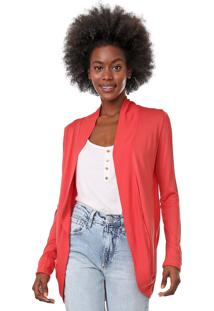Cardigan Hering Liso Coral