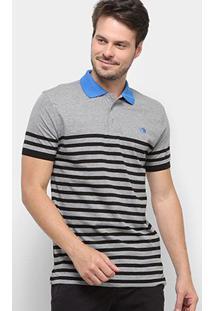Camisa Polo Gajang Euro Jersey Masculina - Masculino-Cinza+Azul