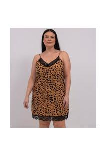 Camisola Alcinha Animal Print Com Decote V E Renda Curve & Plus Size | Ashua Curve E Plus Size | Marrom | Eg